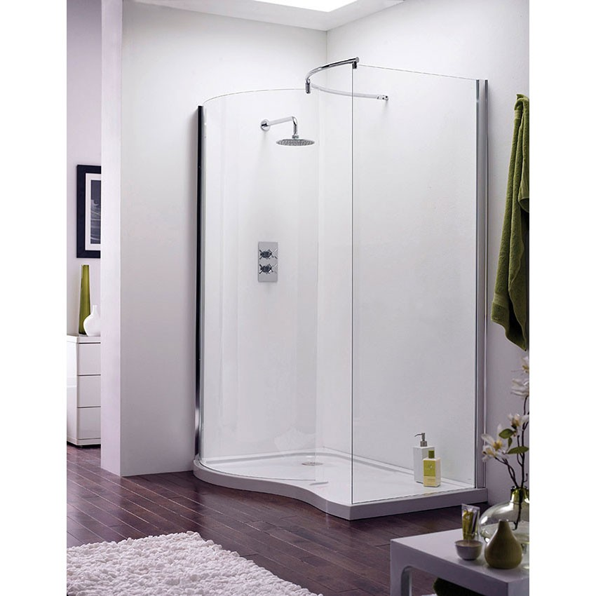 1400 x 90mm Pacific Curved Walk-In Shower Enclosure Left Hand - AQW ...