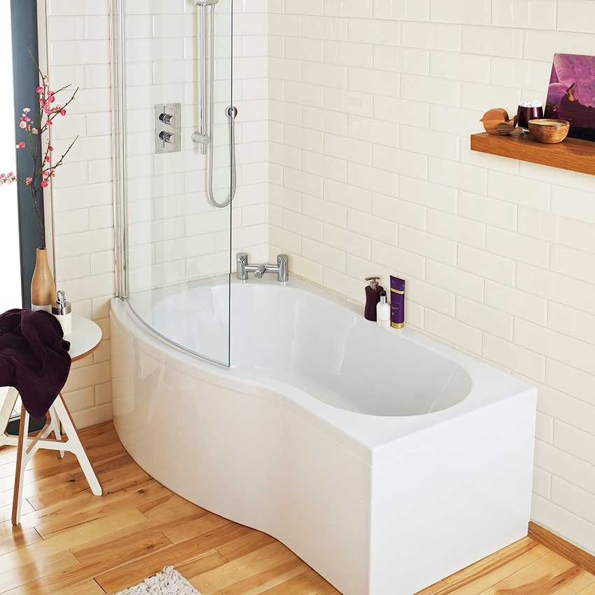 1500 Shower Baths premier b-shape shower bath left hand 1500 x 900mm - bmp1585l