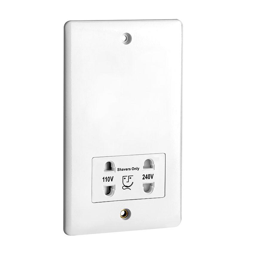 Hudson Reed White Dual Voltage Bathroom Shaver Socket