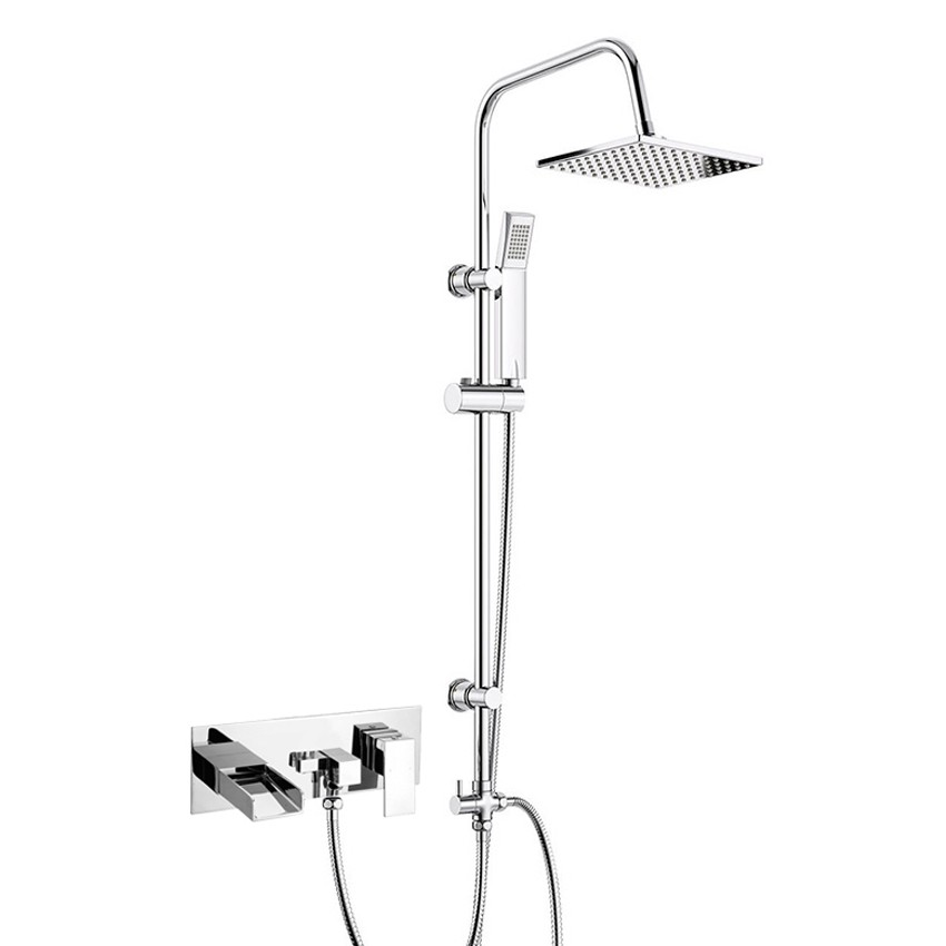 3 Way Square Rigid Riser Shower Mixer with Wall Mounted Bath Shower Mixer Tap Chrome