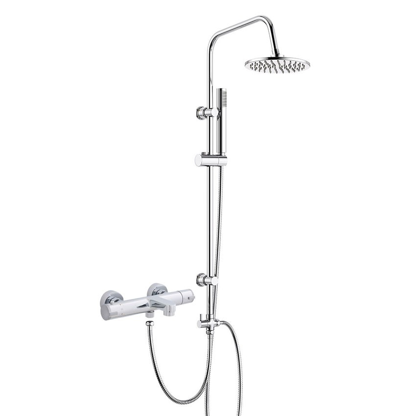 Thermostatic Modern Bath Shower Mixer Tap with Square 3 Way Rigid Riser Kit Chrome