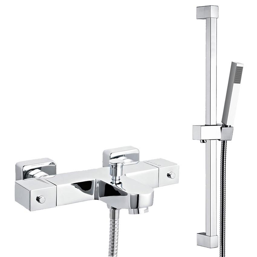 Bath Shower Mixer Taps Thermostatic ultra square thermostatic bath shower mixer tap with shower rail kit