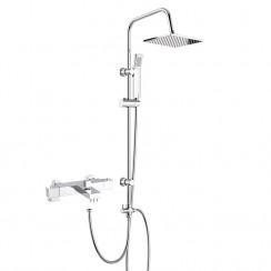 Square Thermostatic Bath Shower Mixer Tap with 3 Way Square Rigid Riser Rail Kit