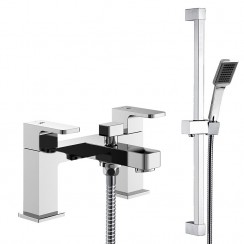 Astra Bath Shower Mixer Tap with Square Slider Shower Rail Kit