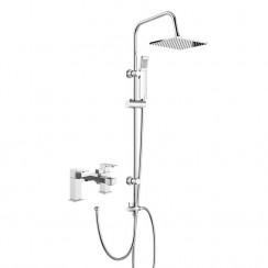 Astra Bath Shower Mixer Tap with 3 Way Square Rigid Riser Rail Kit