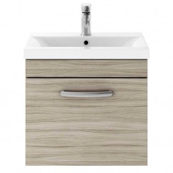 Athena Driftwood 500mm Wall Hung 1 Drawer Cabinet & Basin 1