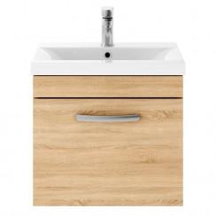 Athena Natural Oak 500mm Wall Hung 1 Drawer Cabinet & Basin 1