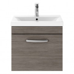 Athena Brown Grey Avola 500mm Wall Hung 1 Drawer Cabinet & Basin 3