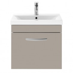Athena Stone Grey 500mm Wall Hung 1 Drawer Cabinet & Basin 1