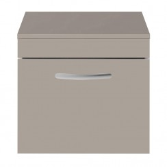 Athena Stone Grey 500mm Wall Hung 1 Drawer Cabinet & Worktop