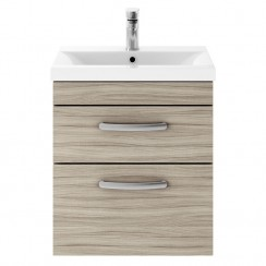Athena Driftwood 500mm Wall Hung 2 Drawer Cabinet & Basin 1
