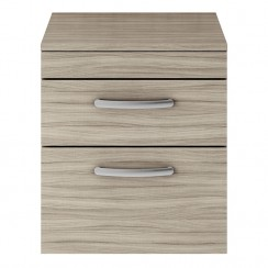 Athena Driftwood 500mm Wall Hung 2 Drawer Cabinet & Worktop