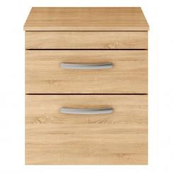 Athena Natural Oak 500mm Wall Hung 2 Drawer Cabinet & Worktop