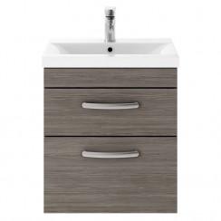 Athena Brown Grey Avola 500mm Wall Hung 1 Drawer Cabinet & Worktop