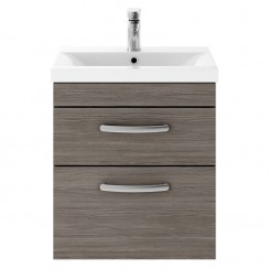 Athena Brown Grey Avola 500mm Wall Hung 2 Drawer Cabinet & Basin 2