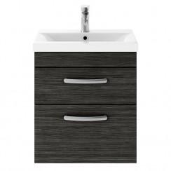 Athena Hacienda Black 500mm Wall Hung 1 Drawer Cabinet & Worktop