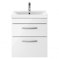 Athena Gloss White 500mm Wall Hung 2 Drawer Cabinet & Basin 2