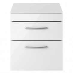 Athena Gloss White 500mm Wall Hung 2 Drawer Cabinet & Worktop