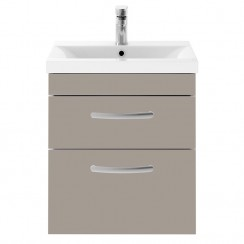 Athena Stone Grey 500mm Wall Hung 2 Drawer Cabinet & Basin 3