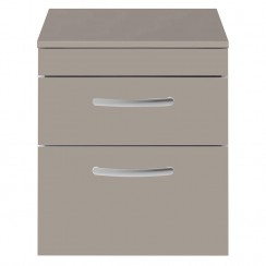 Athena Stone Grey 500mm Wall Hung 2 Drawer Cabinet & Worktop
