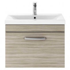Athena Driftwood 600mm Wall Hung 1 Drawer Cabinet & Basin 1