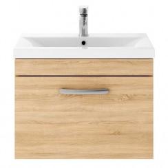 Athena Natural Oak 600mm Wall Hung 1 Drawer Cabinet & Basin 1