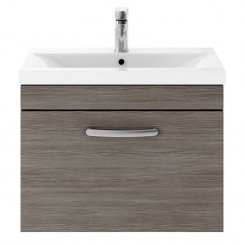 Athena Brown Grey Avola 600mm Wall Hung 1 Drawer Cabinet & Basin 1