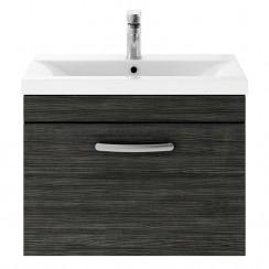 Athena Hacienda Black 600mm Wall Hung 1 Drawer Cabinet & Basin 1