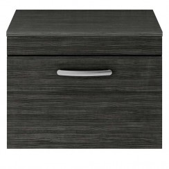 Athena Hacienda Black 600mm Wall Hung 1 Drawer Cabinet & Worktop