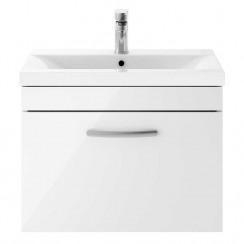 Athena Gloss White 600mm Wall Hung 1 Drawer Cabinet & Basin 3