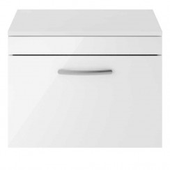Athena Gloss White 600mm Wall Hung 1 Drawer Cabinet & Worktop