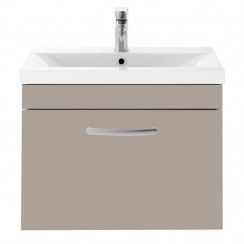 Athena Stone Grey 600mm Wall Hung 1 Drawer Cabinet & Basin 1