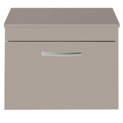 Athena Stone Grey 600mm Wall Hung 1 Drawer Cabinet & Worktop