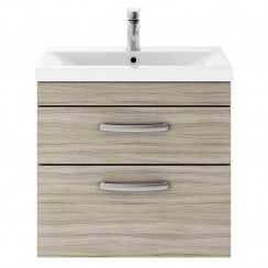 Athena Driftwood 600mm Wall Hung 2 Drawer Cabinet & Basin 1