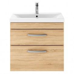 Athena Natural Oak 600mm Wall Hung 2 Drawer Cabinet & Basin 1