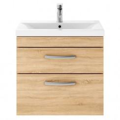 Athena Natural Oak 600mm Wall Hung 2 Drawer Cabinet & Basin 3