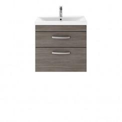 Athena Brown Grey Avola 600mm Wall Hung 2 Drawer Cabinet & Basin 3