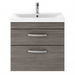 Athena Brown Grey Avola 600mm Wall Hung 2 Drawer Cabinet & Basin 3