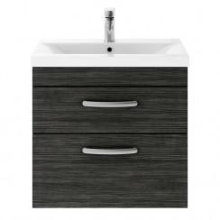 Athena Hacienda Black 600mm Wall Hung 2 Drawer Cabinet & Basin 3