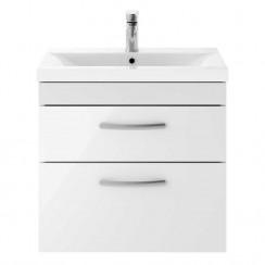 Athena Gloss White 600mm Wall Hung 2 Drawer Cabinet & Basin 1