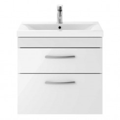 Athena Gloss White 600mm Wall Hung 2 Drawer Cabinet & Basin 2