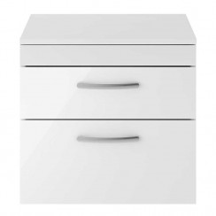 Athena Gloss White 600mm Wall Hung 2 Drawer Cabinet & Worktop