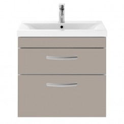Athena Stone Grey 600mm Wall Hung 2 Drawer Cabinet & Basin 1