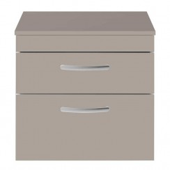 Athena Stone Grey 600mm Wall Hung 2 Drawer Cabinet & Worktop
