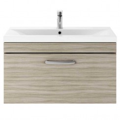 Athena Driftwood 800mm Wall Hung 1 Drawer Cabinet & Basin 1