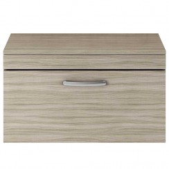 Athena Driftwood 800mm Wall Hung 1 Drawer Cabinet & Worktop