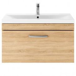 Athena Natural Oak 800mm Wall Hung 1 Drawer Cabinet & Basin 1