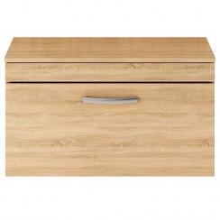Athena Natural Oak 800mm Wall Hung 1 Drawer Cabinet & Worktop