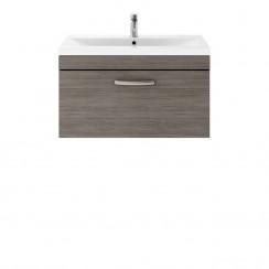 Athena Brown Grey Avola 800mm Wall Hung 1 Drawer Cabinet & Basin 3