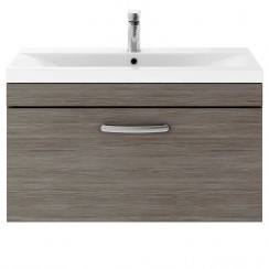 Athena Brown Grey Avola 800mm Wall Hung 1 Drawer Cabinet & Basin 1